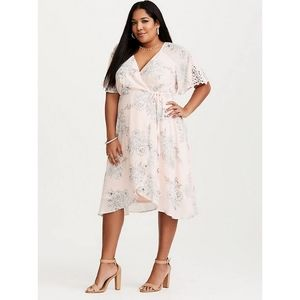 Torrid BLUSH PINK FLORAL WRAP DRESS